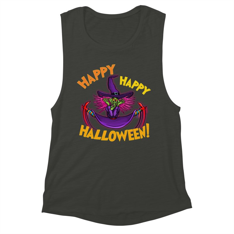 Happy Happy Halloween Witch! Women's Muscle Tank by Joe Abboreno's Artist Shop