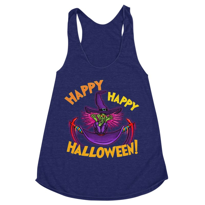 Happy Happy Halloween Witch! Women's Racerback Triblend Tank by Joe Abboreno's Artist Shop