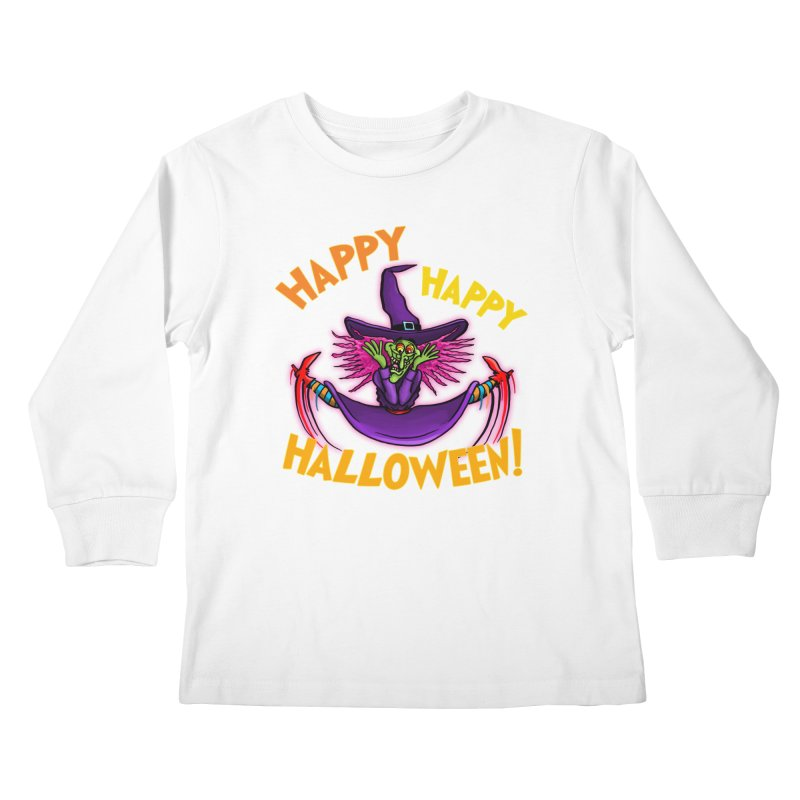 Happy Happy Halloween Witch! Kids Longsleeve T-Shirt by Joe Abboreno's Artist Shop