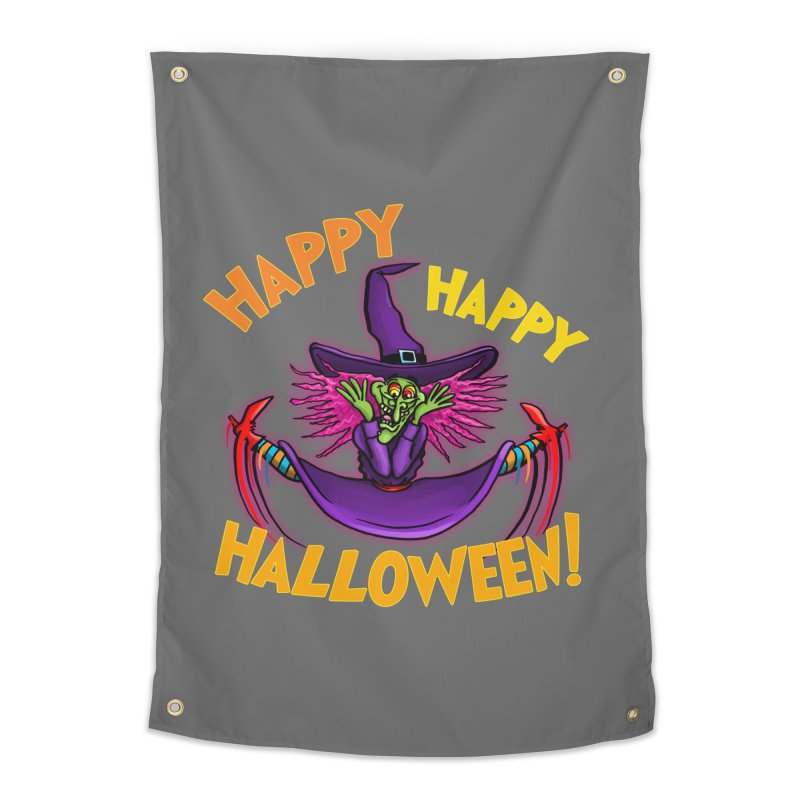 Happy Happy Halloween Witch! Home Tapestry by Joe Abboreno's Artist Shop