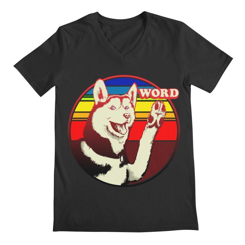 Word Dog Men's Regular V-Neck by Joe Abboreno's Artist Shop