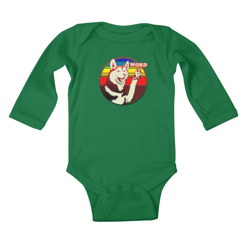 Word Dog Kids Baby Longsleeve Bodysuit by Joe Abboreno's Artist Shop