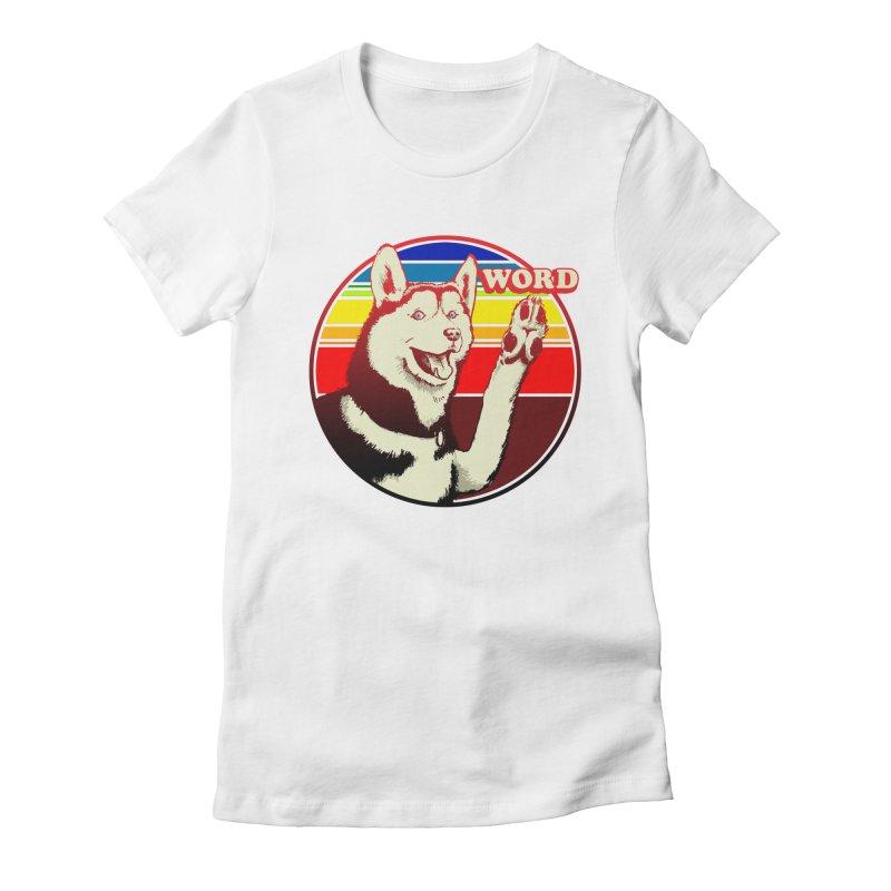 Word Dog Women's Fitted T-Shirt by Joe Abboreno's Artist Shop