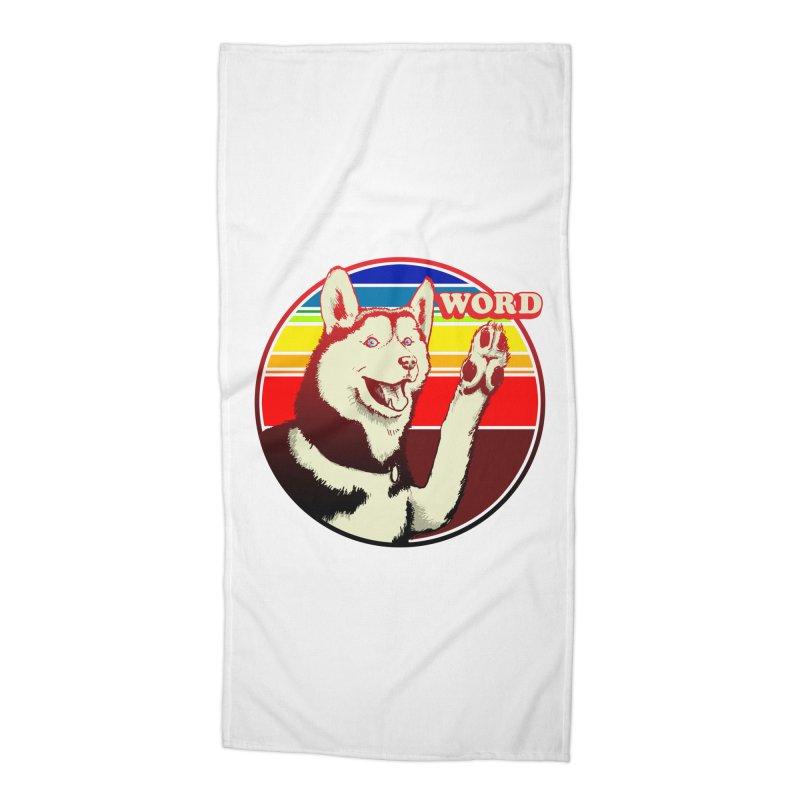 Word Dog Accessories Beach Towel by Joe Abboreno's Artist Shop