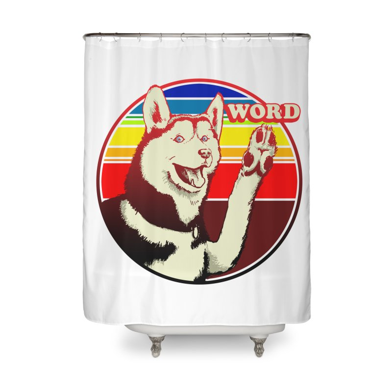 Word Dog Home Shower Curtain by Joe Abboreno's Artist Shop