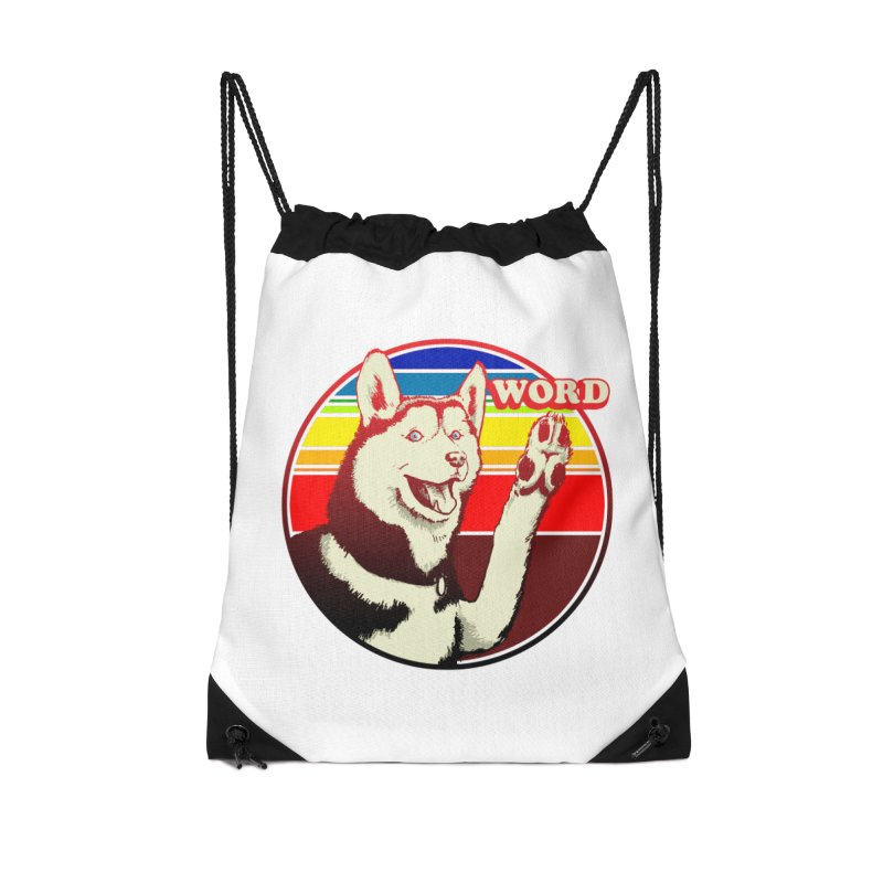 Word Dog Accessories Drawstring Bag Bag by Joe Abboreno's Artist Shop
