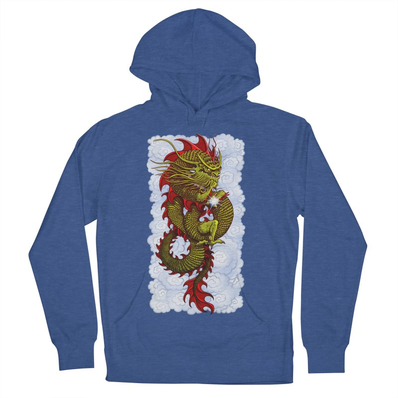 Green Thinker Dragon (Draco Excogitatoris) in the Clouds Men's French Terry Pullover Hoody by Joe Abboreno's Artist Shop