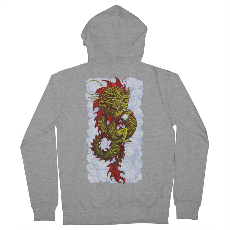 Green Thinker Dragon (Draco Excogitatoris) in the Clouds Men's French Terry Zip-Up Hoody by Joe Abboreno's Artist Shop
