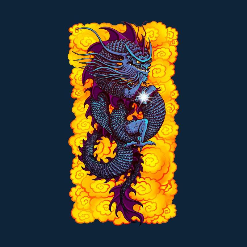 Blue Thinker Dragon (Draco Excogitatoris) in the Clouds of Fire Men's T-Shirt by Joe Abboreno's Artist Shop