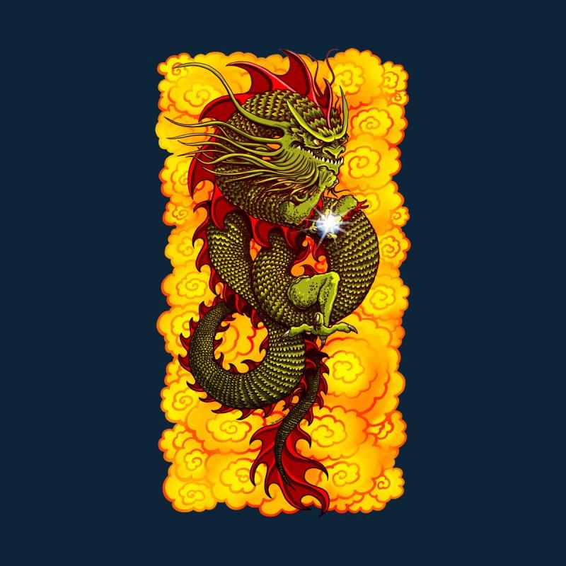 Green Thinker Dragon (Draco Excogitatoris) in the Clouds of Fire Men's T-Shirt by Joe Abboreno's Artist Shop