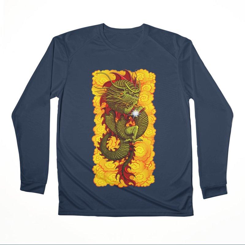 Green Thinker Dragon (Draco Excogitatoris) in the Clouds of Fire Women's Performance Unisex Longsleeve T-Shirt by Joe Abboreno's Artist Shop