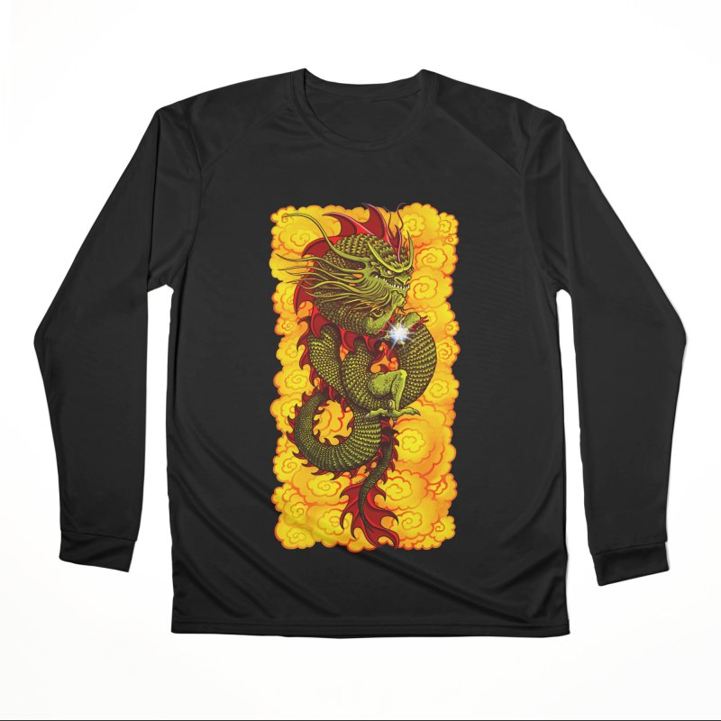 Green Thinker Dragon (Draco Excogitatoris) in the Clouds of Fire Men's Performance Longsleeve T-Shirt by Joe Abboreno's Artist Shop