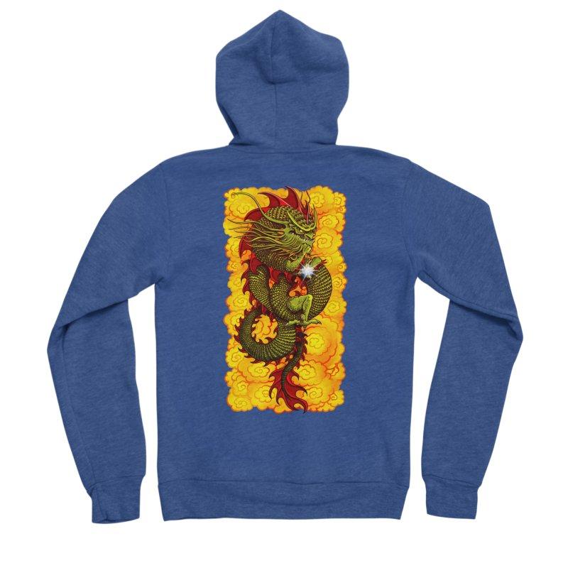 Green Thinker Dragon (Draco Excogitatoris) in the Clouds of Fire Women's Sponge Fleece Zip-Up Hoody by Joe Abboreno's Artist Shop