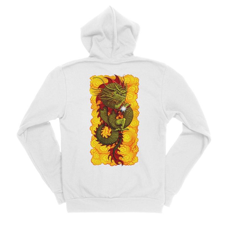Green Thinker Dragon (Draco Excogitatoris) in the Clouds of Fire Men's Sponge Fleece Zip-Up Hoody by Joe Abboreno's Artist Shop