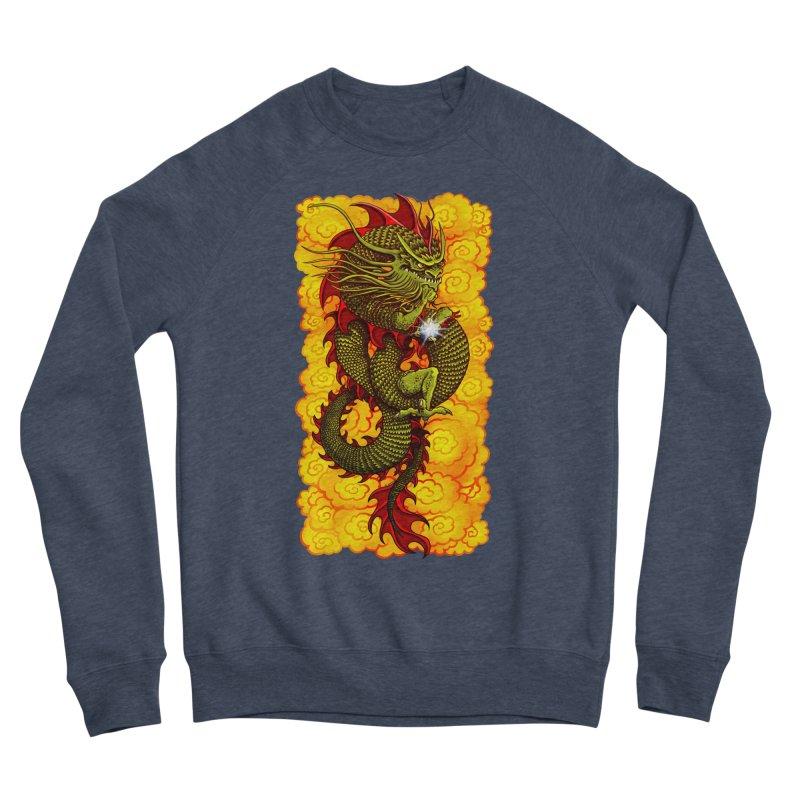 Green Thinker Dragon (Draco Excogitatoris) in the Clouds of Fire Men's Sponge Fleece Sweatshirt by Joe Abboreno's Artist Shop