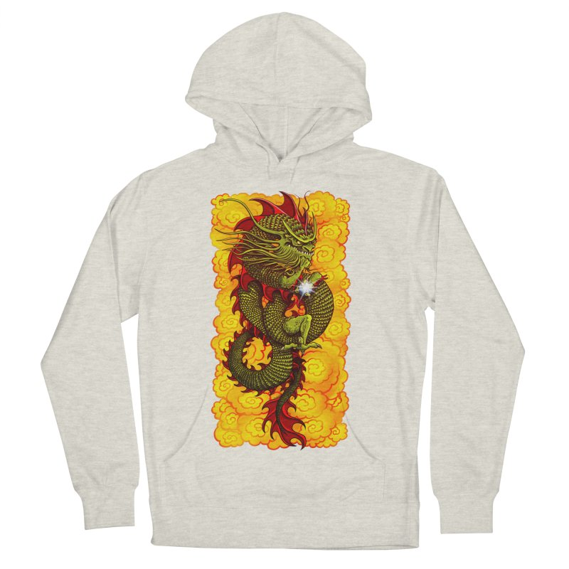 Green Thinker Dragon (Draco Excogitatoris) in the Clouds of Fire Women's French Terry Pullover Hoody by Joe Abboreno's Artist Shop