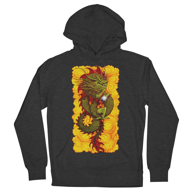 Green Thinker Dragon (Draco Excogitatoris) in the Clouds of Fire Men's French Terry Pullover Hoody by Joe Abboreno's Artist Shop