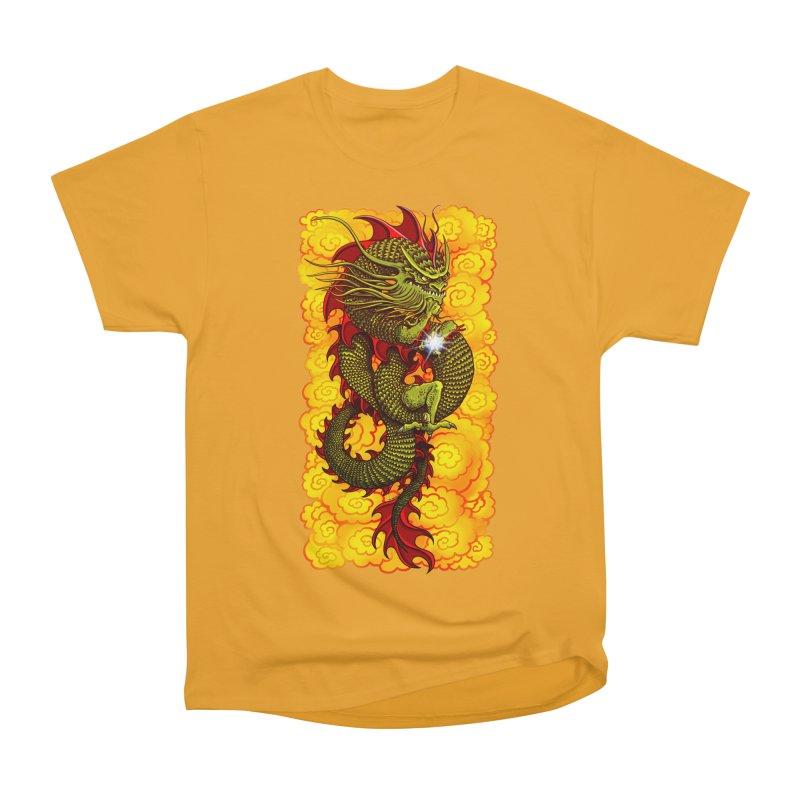 Green Thinker Dragon (Draco Excogitatoris) in the Clouds of Fire Men's Heavyweight T-Shirt by Joe Abboreno's Artist Shop