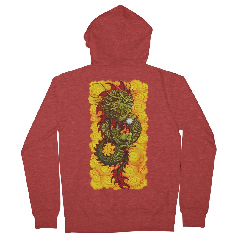 Green Thinker Dragon (Draco Excogitatoris) in the Clouds of Fire Women's French Terry Zip-Up Hoody by Joe Abboreno's Artist Shop