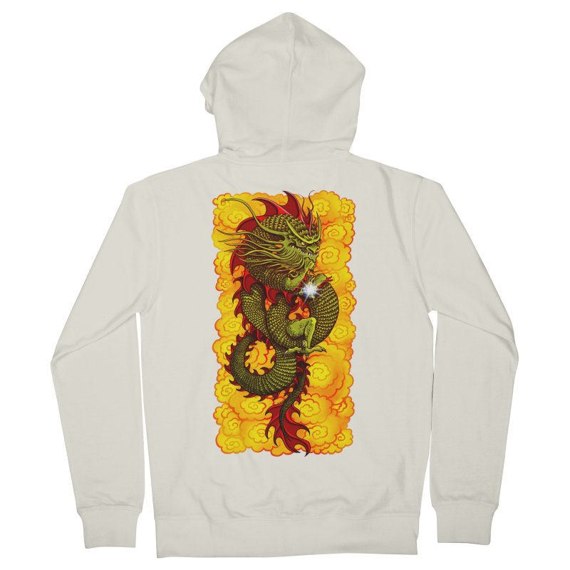 Green Thinker Dragon (Draco Excogitatoris) in the Clouds of Fire Men's French Terry Zip-Up Hoody by Joe Abboreno's Artist Shop