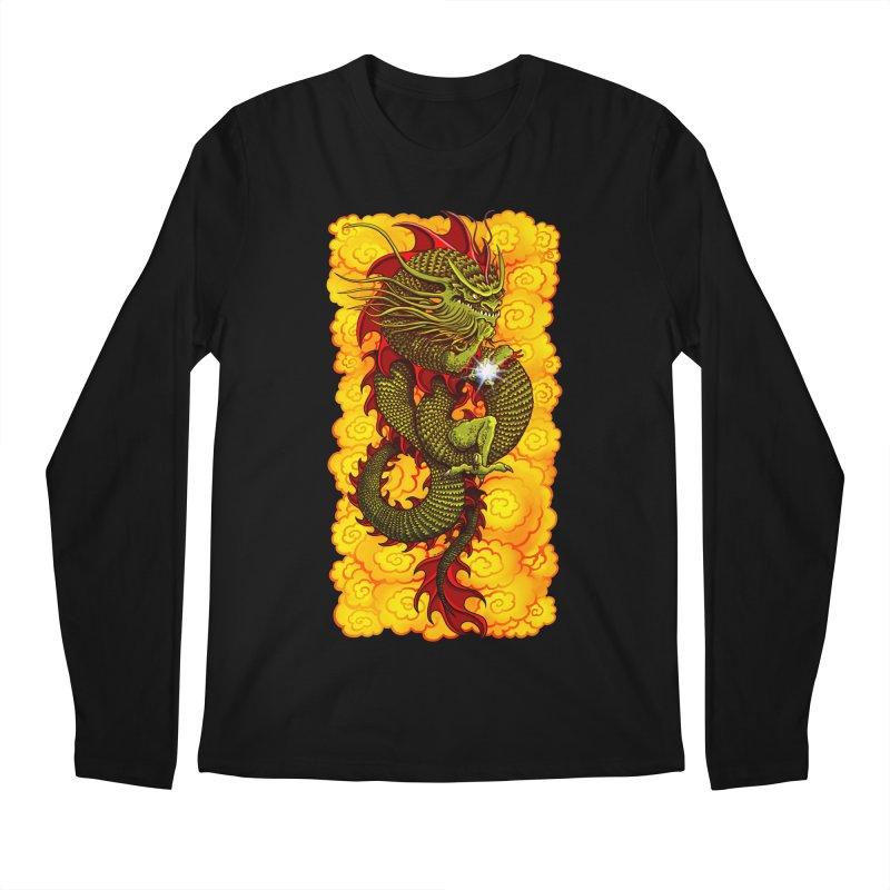 Green Thinker Dragon (Draco Excogitatoris) in the Clouds of Fire Men's Regular Longsleeve T-Shirt by Joe Abboreno's Artist Shop