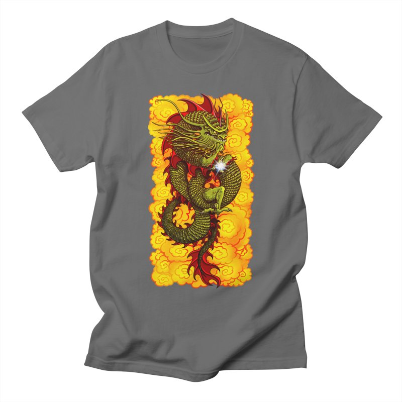 Green Thinker Dragon (Draco Excogitatoris) in the Clouds of Fire Women's Regular Unisex T-Shirt by Joe Abboreno's Artist Shop