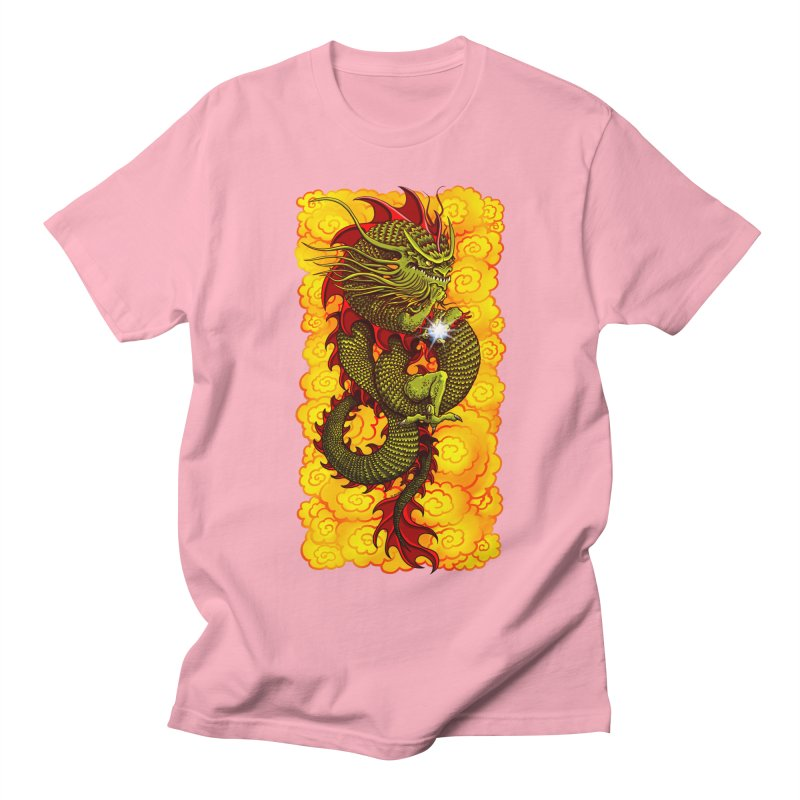 Green Thinker Dragon (Draco Excogitatoris) in the Clouds of Fire Men's Regular T-Shirt by Joe Abboreno's Artist Shop
