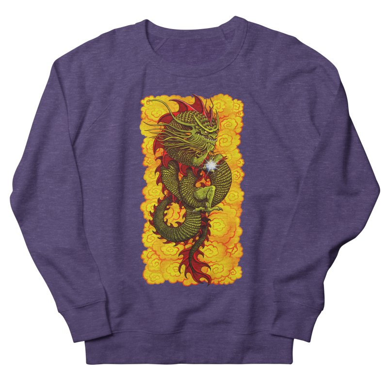 Green Thinker Dragon (Draco Excogitatoris) in the Clouds of Fire Women's French Terry Sweatshirt by Joe Abboreno's Artist Shop