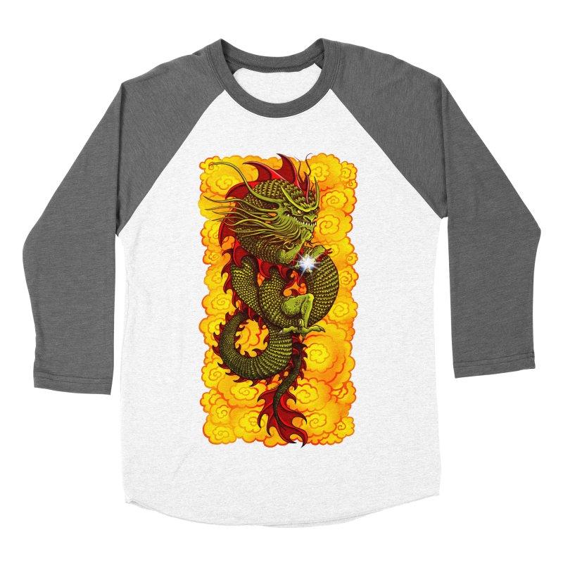 Green Thinker Dragon (Draco Excogitatoris) in the Clouds of Fire Women's Baseball Triblend Longsleeve T-Shirt by Joe Abboreno's Artist Shop