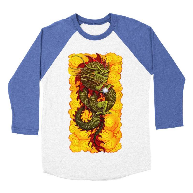 Green Thinker Dragon (Draco Excogitatoris) in the Clouds of Fire Men's Baseball Triblend Longsleeve T-Shirt by Joe Abboreno's Artist Shop