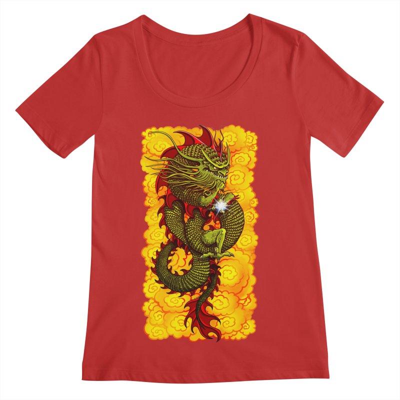 Green Thinker Dragon (Draco Excogitatoris) in the Clouds of Fire Women's Regular Scoop Neck by Joe Abboreno's Artist Shop