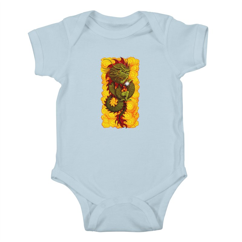 Green Thinker Dragon (Draco Excogitatoris) in the Clouds of Fire Kids Baby Bodysuit by Joe Abboreno's Artist Shop