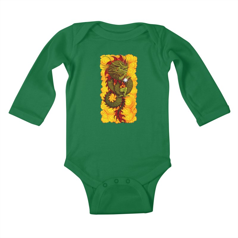Green Thinker Dragon (Draco Excogitatoris) in the Clouds of Fire Kids Baby Longsleeve Bodysuit by Joe Abboreno's Artist Shop