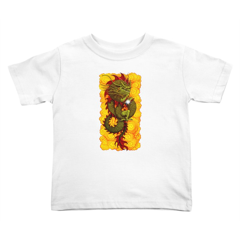 Green Thinker Dragon (Draco Excogitatoris) in the Clouds of Fire Kids Toddler T-Shirt by Joe Abboreno's Artist Shop