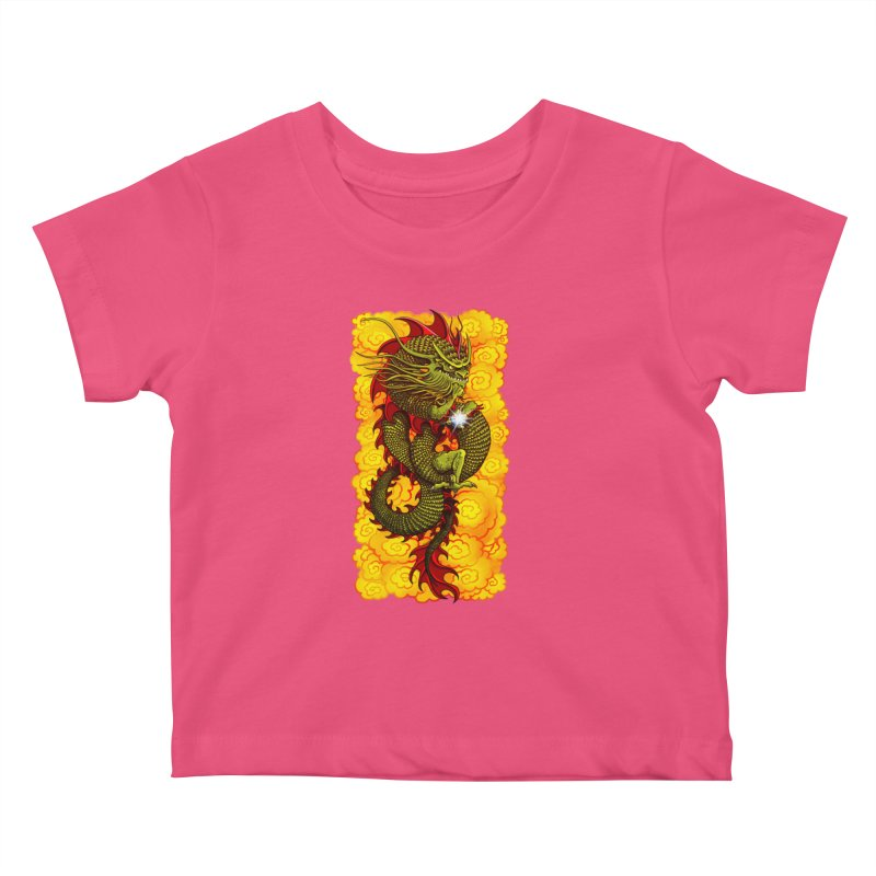 Green Thinker Dragon (Draco Excogitatoris) in the Clouds of Fire Kids Baby T-Shirt by Joe Abboreno's Artist Shop
