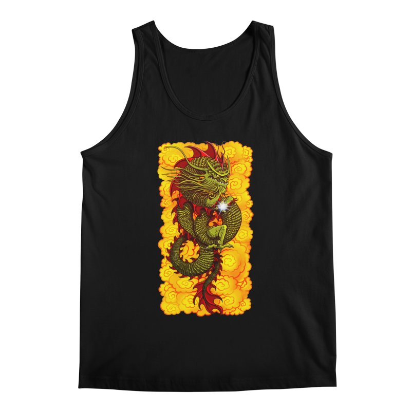 Green Thinker Dragon (Draco Excogitatoris) in the Clouds of Fire Men's Regular Tank by Joe Abboreno's Artist Shop
