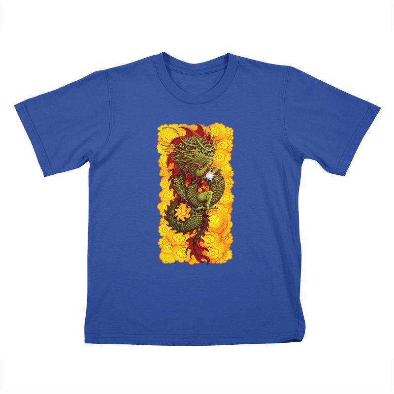 Green Thinker Dragon (Draco Excogitatoris) in the Clouds of Fire Kids T-Shirt by Joe Abboreno's Artist Shop