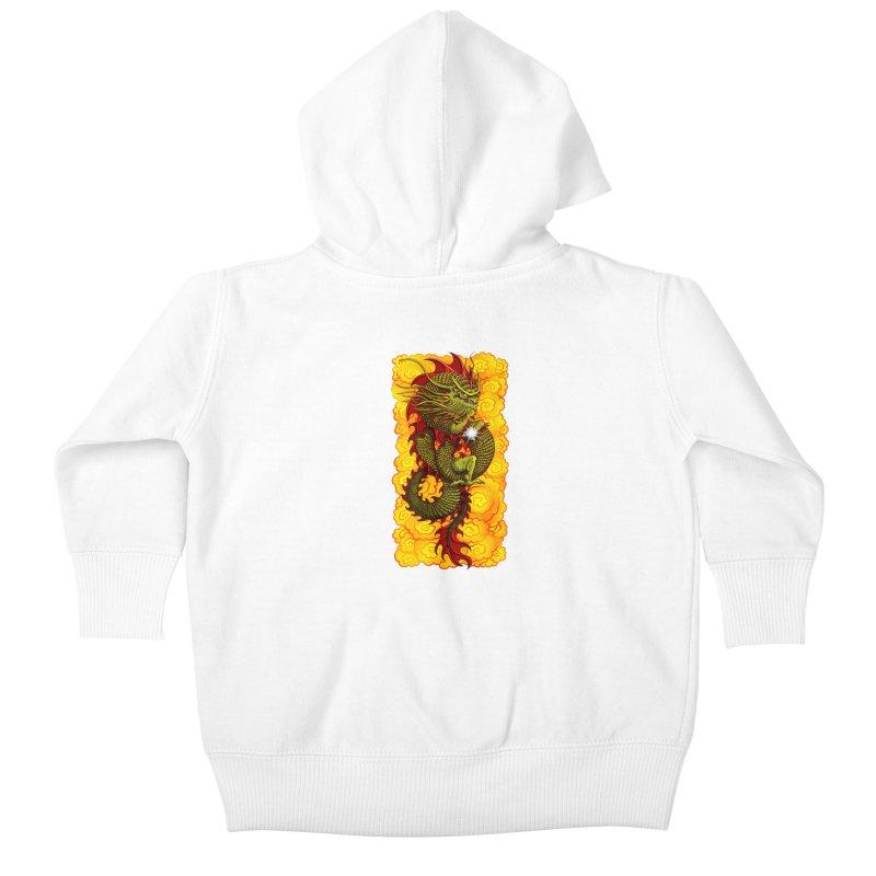 Green Thinker Dragon (Draco Excogitatoris) in the Clouds of Fire Kids Baby Zip-Up Hoody by Joe Abboreno's Artist Shop