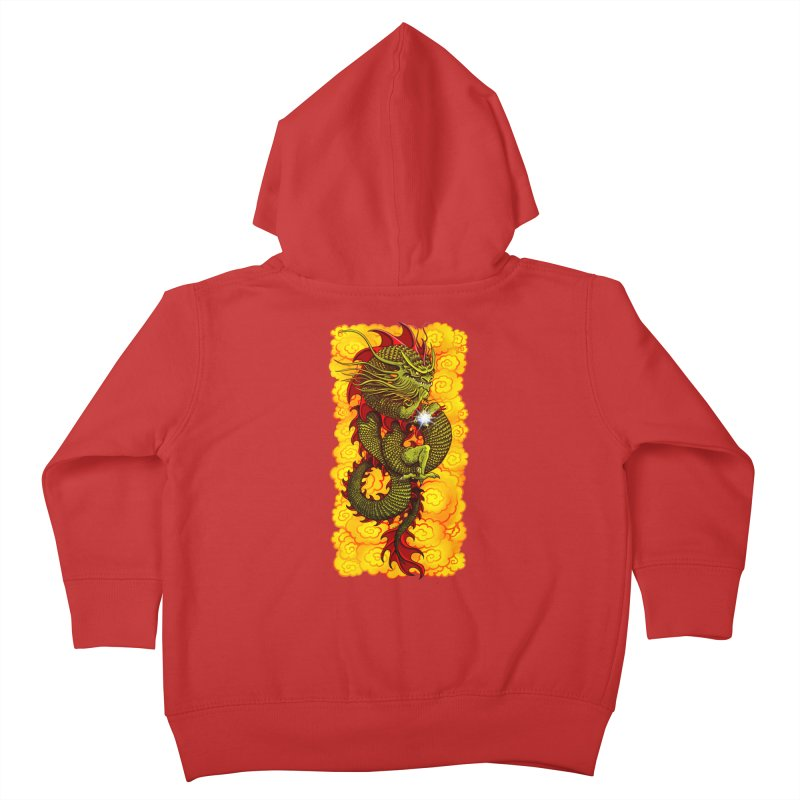 Green Thinker Dragon (Draco Excogitatoris) in the Clouds of Fire Kids Toddler Zip-Up Hoody by Joe Abboreno's Artist Shop
