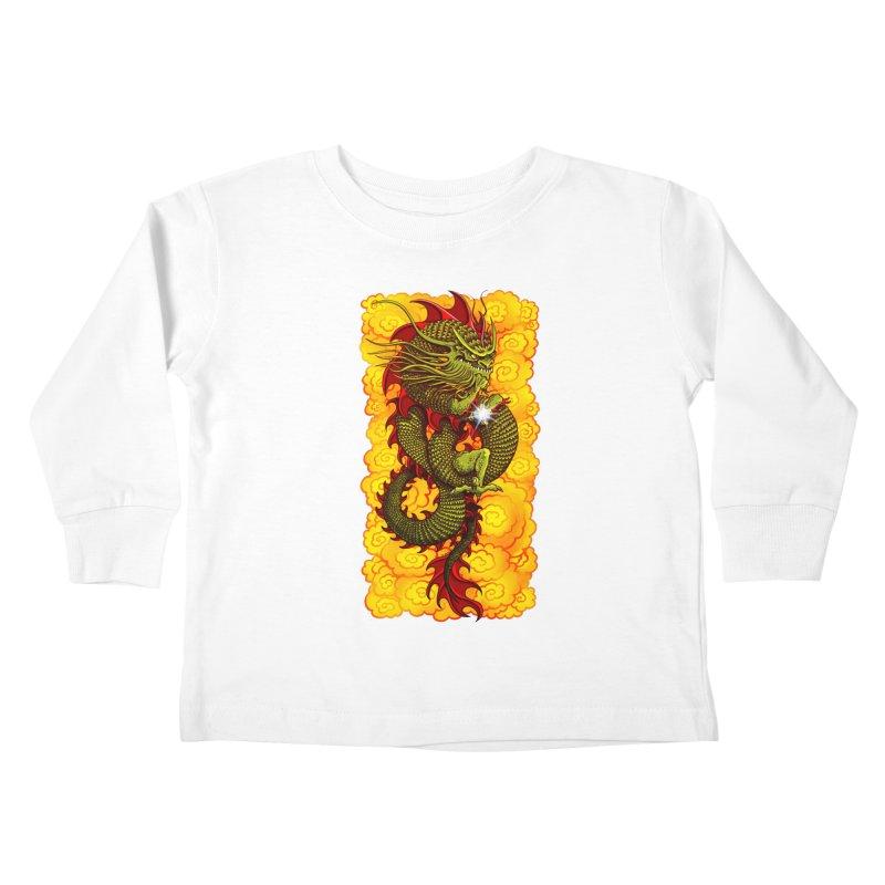 Green Thinker Dragon (Draco Excogitatoris) in the Clouds of Fire Kids Toddler Longsleeve T-Shirt by Joe Abboreno's Artist Shop