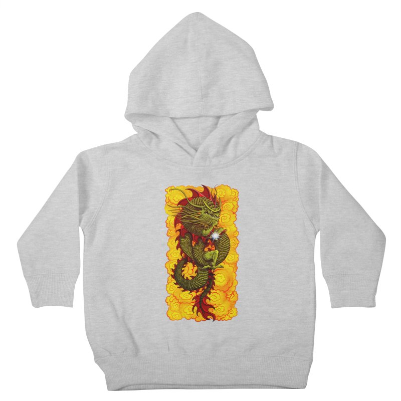 Green Thinker Dragon (Draco Excogitatoris) in the Clouds of Fire Kids Toddler Pullover Hoody by Joe Abboreno's Artist Shop