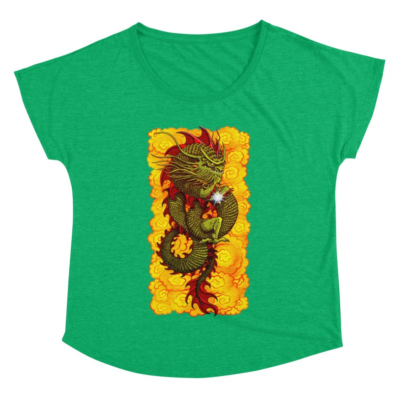 Green Thinker Dragon (Draco Excogitatoris) in the Clouds of Fire Women's Dolman Scoop Neck by Joe Abboreno's Artist Shop