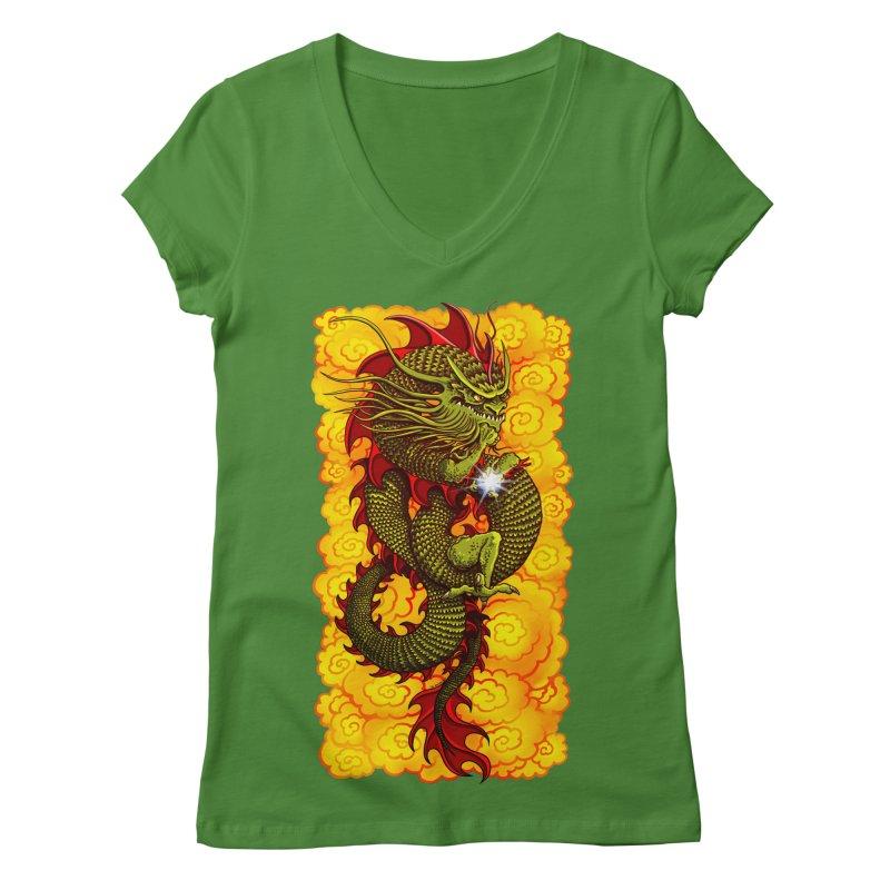 Green Thinker Dragon (Draco Excogitatoris) in the Clouds of Fire Women's Regular V-Neck by Joe Abboreno's Artist Shop