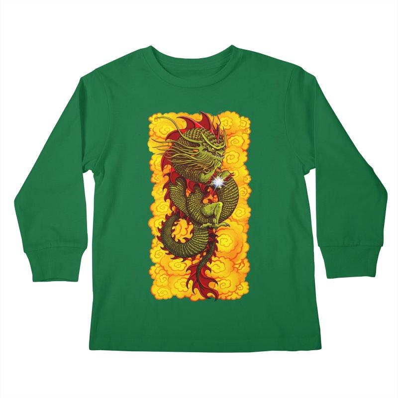 Green Thinker Dragon (Draco Excogitatoris) in the Clouds of Fire Kids Longsleeve T-Shirt by Joe Abboreno's Artist Shop