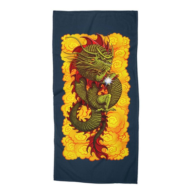 Green Thinker Dragon (Draco Excogitatoris) in the Clouds of Fire Accessories Beach Towel by Joe Abboreno's Artist Shop