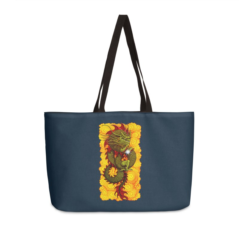 Green Thinker Dragon (Draco Excogitatoris) in the Clouds of Fire Accessories Weekender Bag Bag by Joe Abboreno's Artist Shop