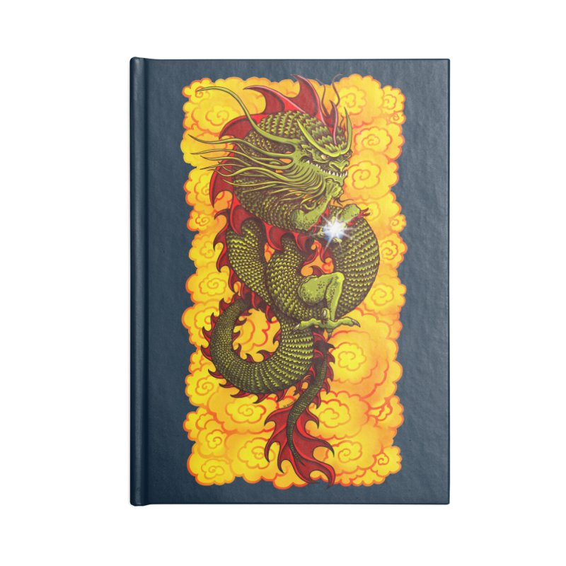 Green Thinker Dragon (Draco Excogitatoris) in the Clouds of Fire Accessories Blank Journal Notebook by Joe Abboreno's Artist Shop