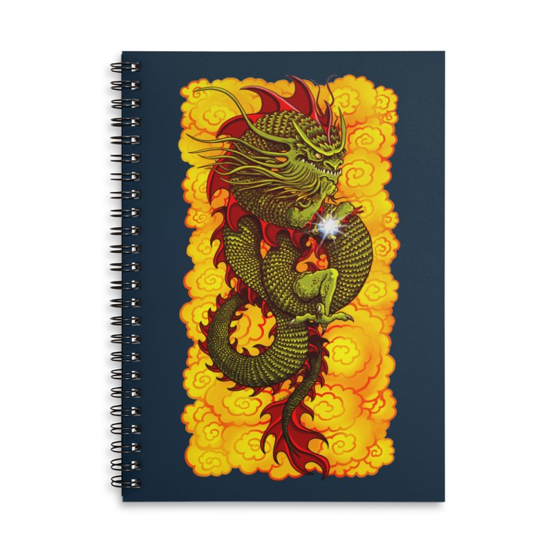 Green Thinker Dragon (Draco Excogitatoris) in the Clouds of Fire Accessories Lined Spiral Notebook by Joe Abboreno's Artist Shop
