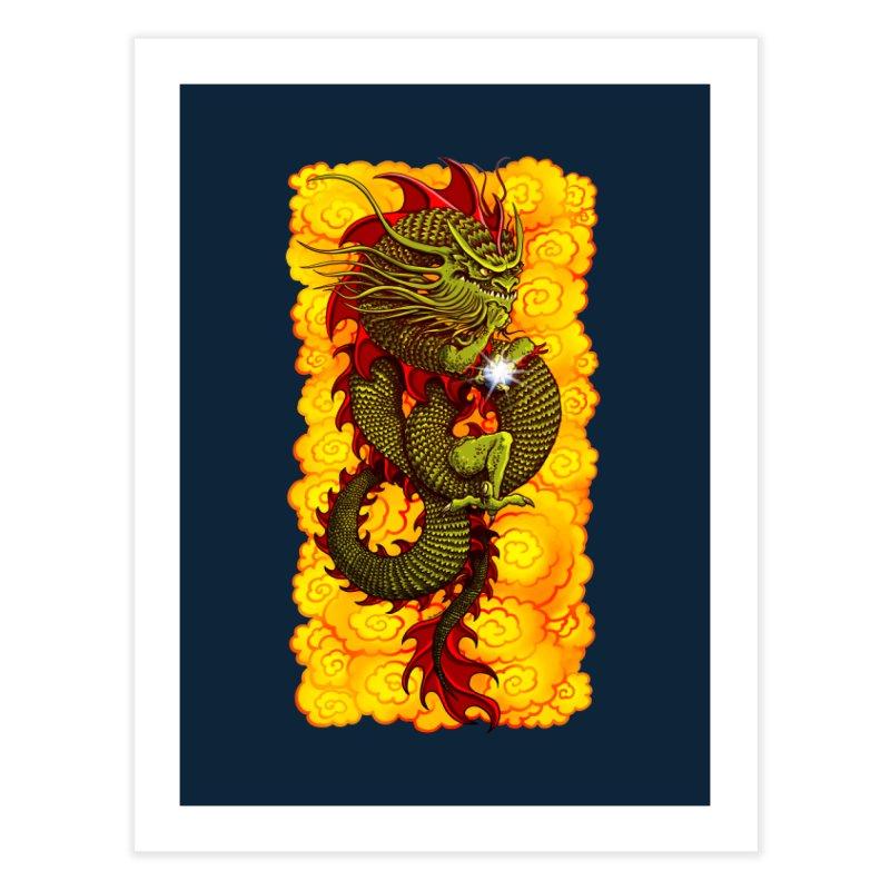 Green Thinker Dragon (Draco Excogitatoris) in the Clouds of Fire Home Fine Art Print by Joe Abboreno's Artist Shop