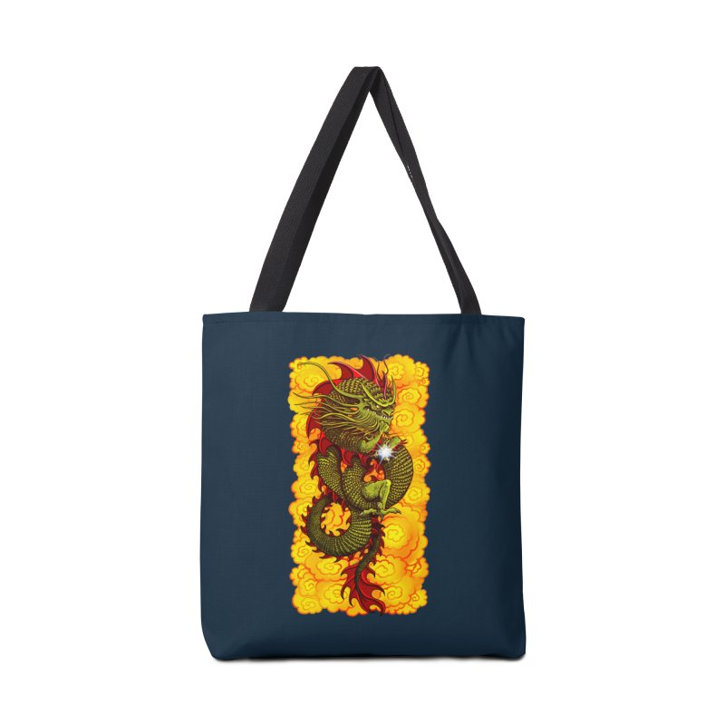 Green Thinker Dragon (Draco Excogitatoris) in the Clouds of Fire Accessories Tote Bag Bag by Joe Abboreno's Artist Shop